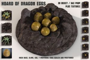 FREE Objects / DAZ Prop - Hoard of Dragon Eggs by Laticis