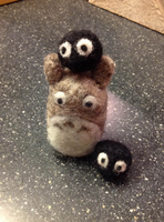 Totoro and his Soot Sprite friends by the-pink-dragon