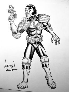 Inktober Day 11 Judge Dredd by WaldenWong