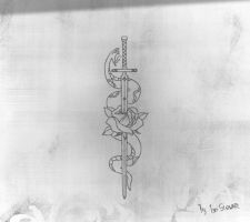 Snake and Rose tattoo design by Hercool