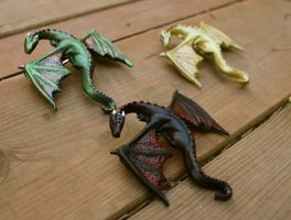 Khaleesi's Dragons, hair clips by aishavoya