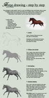 Horse drawing Tutorial by tichwin