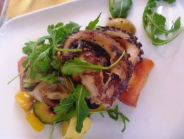 Grilled Octopus With Rucola And Seasonal Vegetable by delaverano