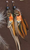 Foxy Earrings with Painted Feathers by 00BlacKBerrY00