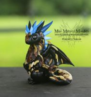 Haystacks Black Blue Brown Dragon Sculpture by MiniMythicalMonsters
