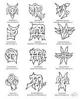 Zodiac Cusps Tattoo Designs by Wolfrunner6996