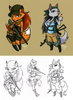 fluffy ladies with guns by tttroy