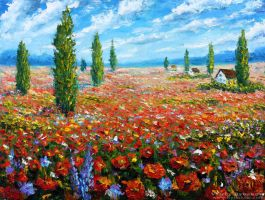 Flowers oil painting the Field of red poppies. by wwwrybakowcom