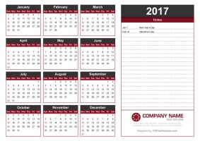 2017 Calendar Template with Notes by 123freevectors