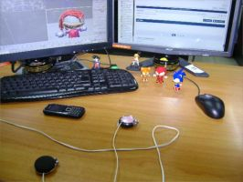 Chibi Gang on desk by andril