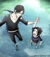 Itachi and sasuke lol training by Kibbitzer