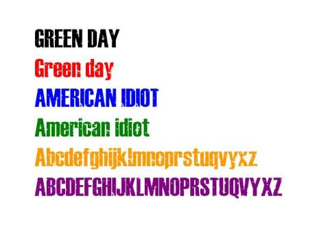Green Day American Idiot font by wazzap9669