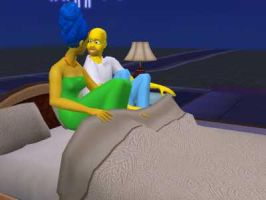 Homer and Marge by Quacksquared
