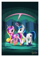 Cadance and Shining in the Rain by mysticalpha