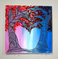 Two Abstract Trees Form Heart: Fall by Eccentric-Indigo