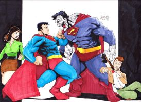 Superman vs. Bizarro by LangleyEffect
