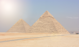 Egyptian Pyramids: Pyramid of Khufu and Khafre by DorotejaC