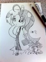 Sketch - Shiku and chibi Yoru by hiru-miyamoto