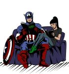 Captain America in my couch by Axcido