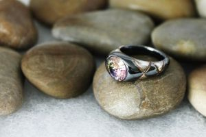 Oxidated silver ring with cz by ArjasUni