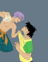Flats for Trunks angry at Son Goten by ksilver