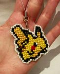 Cross stitch phone charm - Pikachu by Iced-over