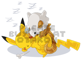 Pikachu and Cubone asleep