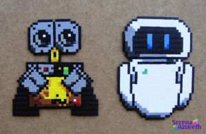 Wall-E and Eve Bead Sprite by SerenaAzureth