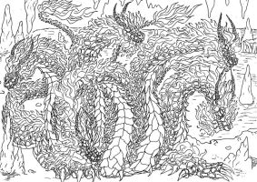 Lineart: hydra of fire by kxeron