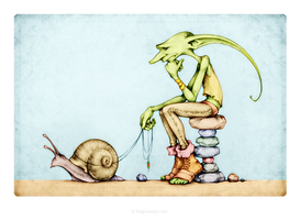 The Goblin and his Pet Snail by Tzoli