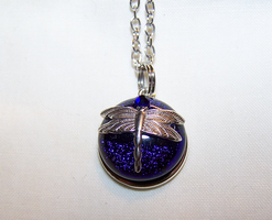 Silver Dragonfly with Cobalt Dichroic Glass by mymysticgems