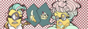 Banana vs banana split cake by RetroFluff