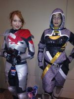 Tali and Dragon Armor Shep by Bored2d