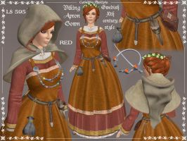 Viking Apron Gown in Red by Elvina-Ewing