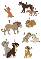 Lion king adoptables - TWO LEFT by GiuuM