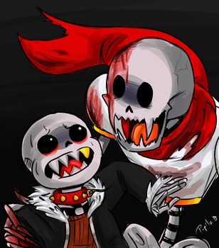 Undefell Sans and Horrortale Papyrus by IrinCavallone