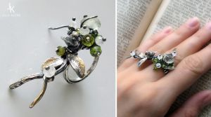 Silver ring Spring forest by JSjewelry