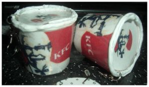 KFC Bucket earrings by estranged-illusions
