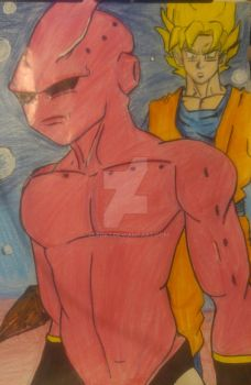 Buu and Goku by 3dark7