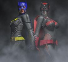 Batwoman and Batgirl by hiram67