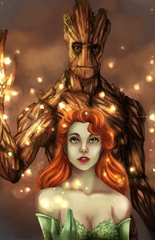 Groot and Poison Ivy by Y3ssi