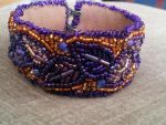 Beaded Purple Leaf Cuff Bracelet by MountainInspirations