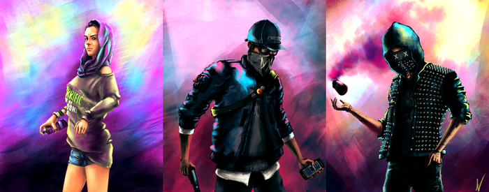 Watch Dogs 2 fanart - The DedSec Squad by ngenoART
