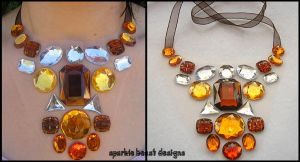 Candy Corn Rhinestone Necklace by Natalie526