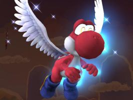 Red  Winged Yoshi by SteelChar