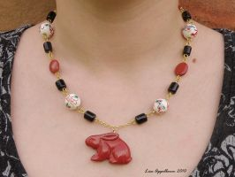 Oriental Red Rabbit Necklace by Cillana