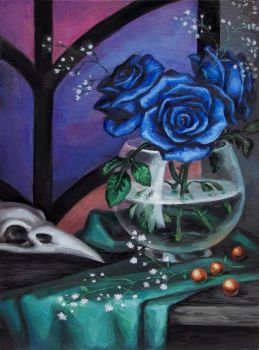 Still life with blue roses and bird's skull by dragon--of--fate