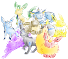 Eeveelutions by SaengTheLeafeon