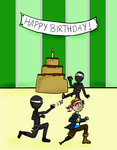 Pirate vs Ninja's Birthday by Luciferspet