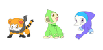 Sun and Moon Starters Fakemon by knightwolf09